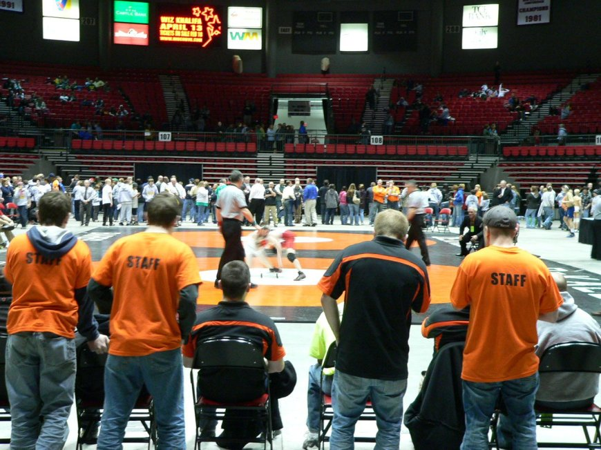 wrestling match with crowd